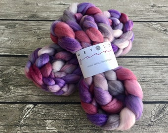 Try The Gray Stuff - Hand Dyed Polwarth / Tussah Silk Roving  - 4 oz Spinning Fiber - Hand Dyed Fiber - Hand Dyed Roving