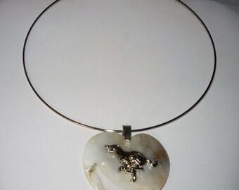 SueBero Greyhound Dog Jewelry Heart Shell Pendant Neckring Whippet IG