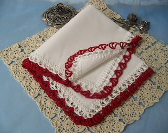 Ladies Personalized Gift, Embroidered, Custom, Lace Handkerchief, Hanky, Hankie, Hand Crochet, Valentines, Red, Ready to ship