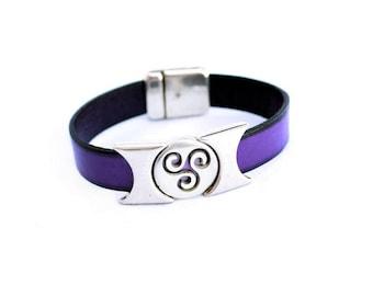Triskele bracelet, celtic leather bracelet for men, celtic leather bracelet for women, men leather bracelet