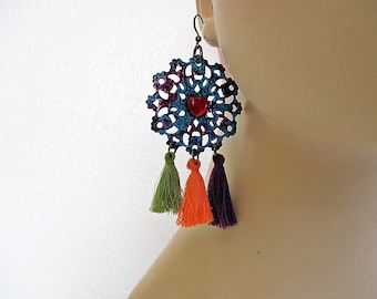 Tassel Earrings, Tangerine Orange, Olive Green, Wine Purple, Blue Earrings, Festive Jewelry, Boho Jewelry, Handmade
