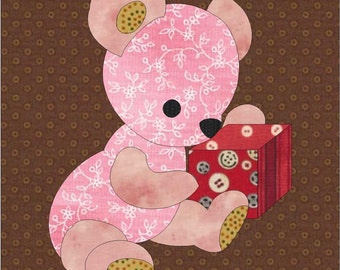 PDF Download - Instant Download - Baby Bear Pattern - Block Pattern - Quilt Pattern - Quilt Block - Block Pattern - Teddy Bear Block