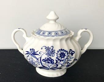 J&G Meakin Blue Nordic (Blue Onion) Sugar Bowl