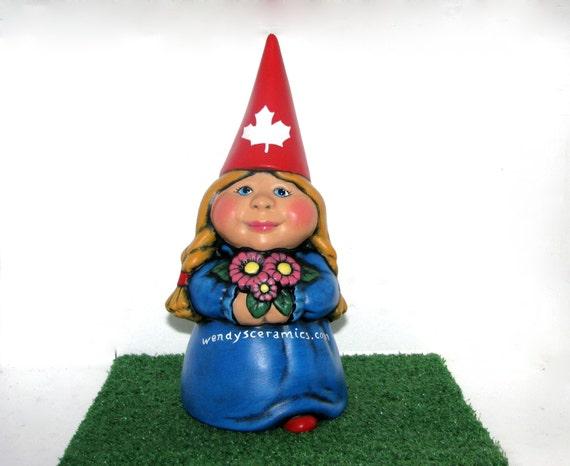 Female Garden Gnomes: Custom Ceramic Female International Garden Gnome 11 Inches