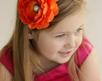 Orange Baby Headband.Baby Girl Headband.Baby Headbands.Girl Headband.Orange Flower Headband.Hair Bows.Spring Headband.Orange Headband.Bows