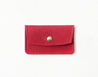 Red Credit Card Wallet, Leather ID Wallet, Business Card Wallet, Gift Card Holder, Metro Card Holder, Minimal Card Wallet, Credit Card Case