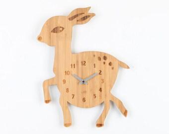 Bamboo Wood Kids Wall Clock -  Deer