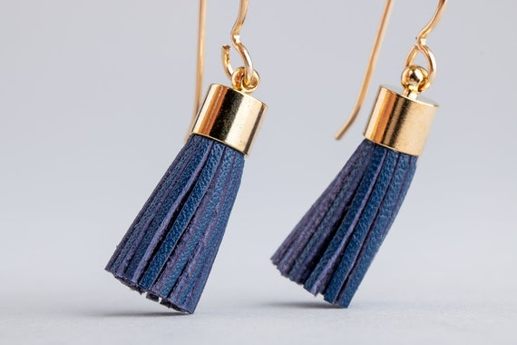 Blue Leather Tassel Earrings - Dark Blue Synthetic Leather Tassel Earrings in 14K Gold Fill - Long Gold and Blue Earrings - Tassel Earrings
