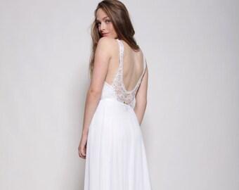 Boho wedding dress, embroidery collar, open back lace wedding dress