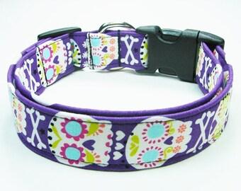 Sugar Skulls Purple Dog Collar