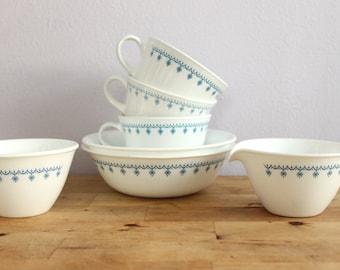 Vintage 1970's Corelle Blue Snowflake 2 Cereal Bowls + 3 Coffee Cups + Cream + Sugar