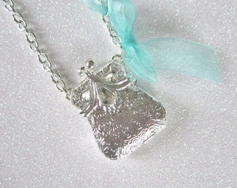 3D Pocketbook Pendant opening locket necklace silver coin purse pocketbook locket girls tween teen womans jewelry unique birthday gift
