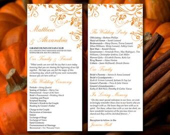 """Wedding Program Template - Pumpkin Ceremony Program """"Charlan"""" Ceremony Program - DIY Wedding Program - Printable Program Instant Download"""