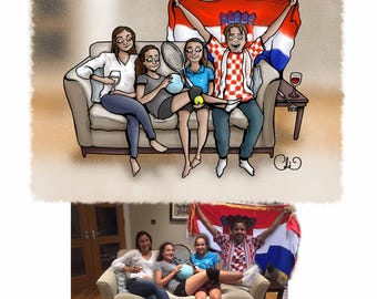 Custom Family Caricature - 'At Home Scene' A3 Giclee Print