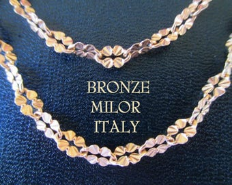 Milor Italy Necklaces * Flower Design * Bronze/Gold Coloring * Set Of Two Matching Necklaces * Gift For Lady