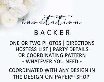 Invitation Card Backer