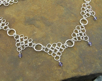 Sterling Chain Maille Necklace, Swarovski Crystals, Sterling Silver Necklace, Handmade Necklace