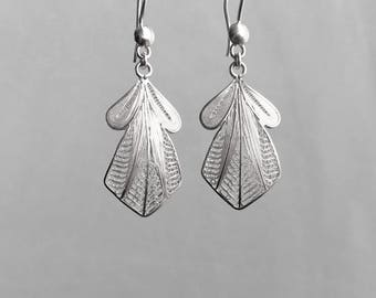 Art Deco Earrings Silver Lace Filigree Earrings with Embroidered Silver Wire in a Unique Design Feather Like Earrings 183