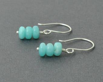 Sterling Silver Dangle Earrings, Amazonite Earrings, Blue Earrings, Gemstone Earrings, Small Dangle