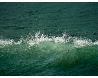 Abstract green print Large ocean photography Abstract wave art Green bedroom wall decor Sea waves Large wall art poster 24x36, 16x20 20x40