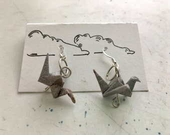Silver Paper Crane Earrings