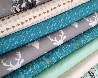 Forest Fabric Bundle, Hello Bear fabric, Woodland baby quilt fabric, Arrow fabric, Deer fabric, Fabric Bundle of 8- You Choose the Cut