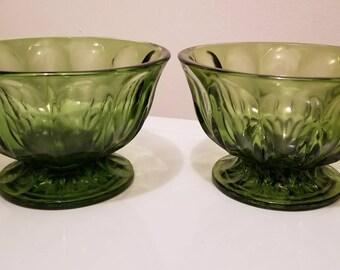 One Vintage Green Glass Pedestal Bowl. Anchor Hocking Fairfield Glass Bowl.