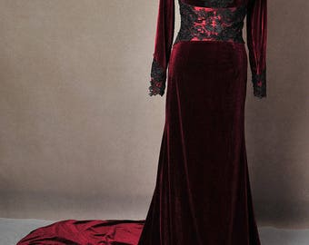 Once Upon A Time Red Velvet Regina Custom Made Cosplay Costume Gown