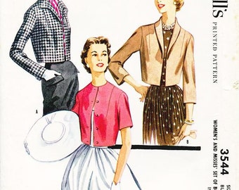 "SZ 12/Bust 32"" - Vintage 1950s Jacket Pattern - McCall's 3544 -  Misses' Cropped Bolero Jacket in Three Variations"