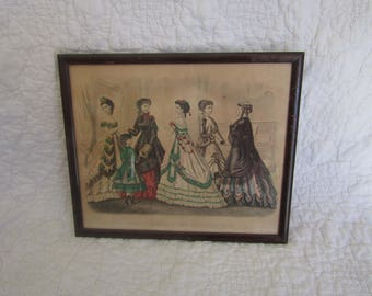 Vintage Framed Picture of Godey's Fashions for February 1869