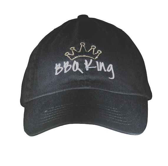 BBQ King - Polo Style Ball Cap (Black with White/Gold Stitching)