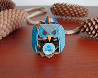 Felt owl pine cone handmade ornament christmas tree decoration felt owl ornament