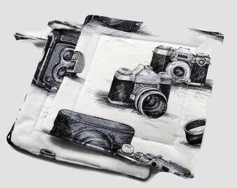 Handmade Quilted Pot Holders Set of 2 Cameras White Black Potholders
