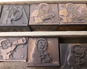 Antique Copper 1921 Cartoon Advertising Letterpress Printers' Blocks