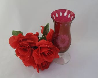 Ruby Red Vase Cut to Clear Cornflower Pattern ~ Vintage 1960's