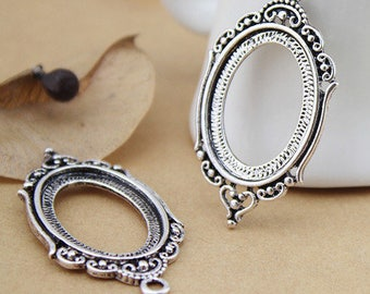 set of 5 pendants stand for cabochon 25 x 18 mm silver