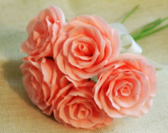Six paper roses -for bouquet,home decor