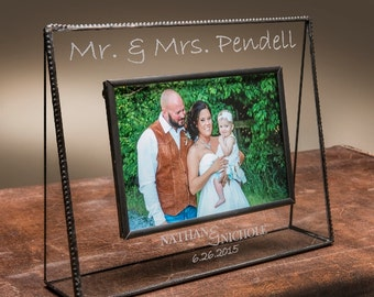 Personalized Glass Picture Frame Wedding gift comes in various sizes- Mr. & Mrs. with names and date-J. Devlin Pic 319 Series