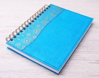 Lined Turquoise Notebook / Turquoise journal / spiral bound notebook / blue notebook / recycled notebook / eco friendly journal / writing