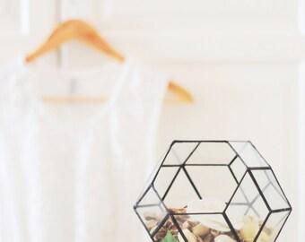 Glass Geometric Terrarium Container, Succulent Planter, Bedside Decor, Fairy Light Display, Glass Jewelry Box, Geometric Table Centerpiece