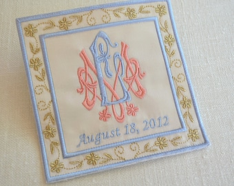Custom Embroidered Wedding Dress Label French Silk Satin, Coral and Blue with Gold Thread