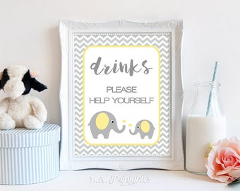 Baby Shower Drink Table Sign, Yellow Elephant Baby Shower Sign, Grey Chevron, INSTANT PRINTABLE