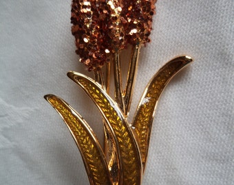 Vintage Signed Danecraft Goldtone Cat Sparkling Cat Tails Brooch/Pin