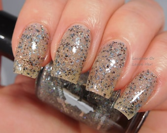 Silver Bells - custom silver holographic glitter bomb topper gold iridescent gray black nail polish