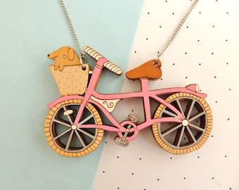 Pink Bike Necklace with dog. Hand painted, pink statement necklace! Unique gift for dog lover/bike lover gift. Pink vintage bike, dog basket