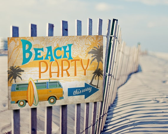 14 Vintage Surf Party Posters Signs INSTANT DOWNLOAD