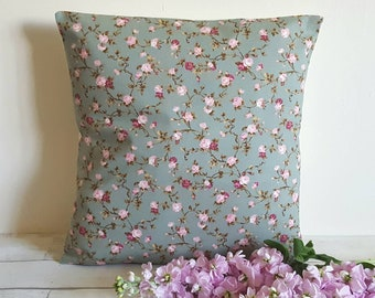 Floral cushion cover, blue cushion cover, floral cushion, blue floral cushion, shabby chic cushion, pink floral cushion, cottage decor