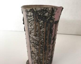 Joani Inglett Porcelain vase- pink & black
