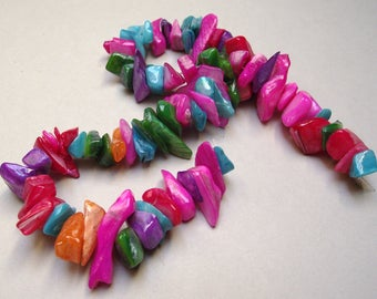 50 mother of Pearl shell beads multicolored 10 x 20 mm.