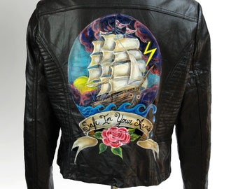 Hand Painted Vegan Leather Moto Jacket - Ship in a storm - Safe In Your Arms - Size L